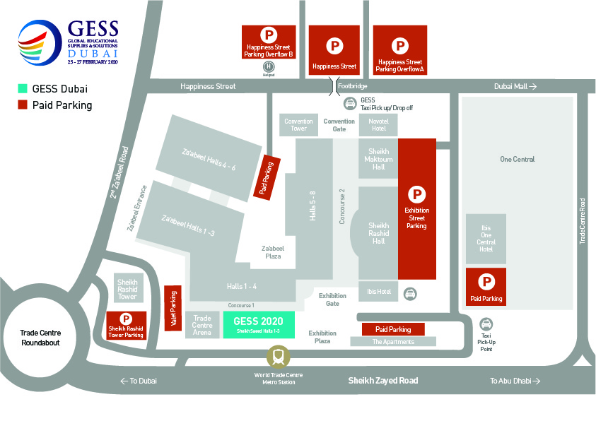 Parking and transportation map to GESS Dubai